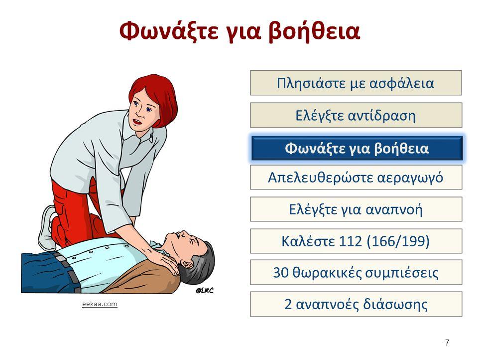 Φωνάξτε για βοήθεια 7 Πλησιάστε με ασφάλεια Ελέγξτε αντίδραση Φωνάξτε για βοήθεια Απελευθερώστε αεραγωγό Ελέγξτε για αναπνοή Καλέστε 112 (166/199) 30 θωρακικές συμπιέσεις 2 αναπνοές διάσωσης eekaa.com