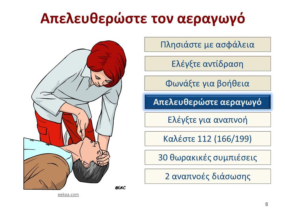 Απελευθερώστε τον αεραγωγό 8 Πλησιάστε με ασφάλεια Ελέγξτε αντίδραση Φωνάξτε για βοήθεια Απελευθερώστε αεραγωγό Ελέγξτε για αναπνοή Καλέστε 112 (166/199) 30 θωρακικές συμπιέσεις 2 αναπνοές διάσωσης eekaa.com
