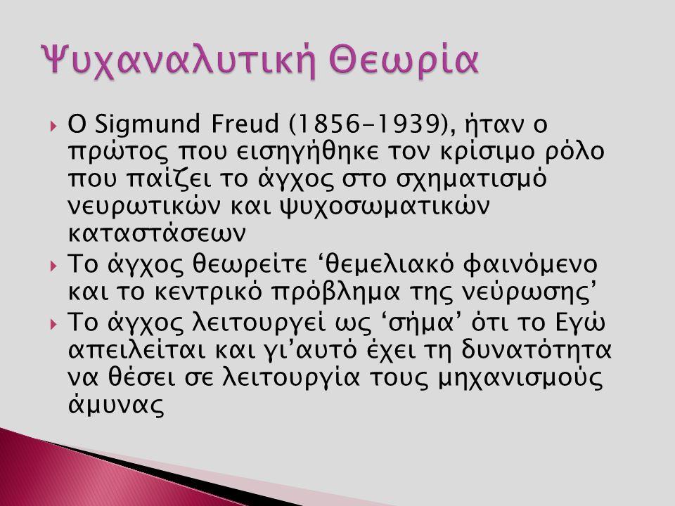  Ο Sigmund Freud (1856-1939), ήταν ο πρώτος που εισηγήθηκε τον κρίσιμο ρόλο που παίζει το άγχος στο σχηματισμό νευρωτικών και ψυχοσωματικών καταστάσεων  Το άγχος θεωρείτε 'θεμελιακό φαινόμενο και το κεντρικό πρόβλημα της νεύρωσης'  Το άγχος λειτουργεί ως 'σήμα' ότι το Εγώ απειλείται και γι'αυτό έχει τη δυνατότητα να θέσει σε λειτουργία τους μηχανισμούς άμυνας