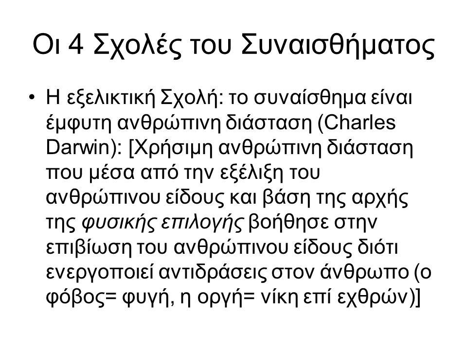 Οι 4 Σχολές του Συναισθήματος Η εξελικτική Σχολή: το συναίσθημα είναι έμφυτη ανθρώπινη διάσταση (Charles Darwin): [Χρήσιμη ανθρώπινη διάσταση που μέσα