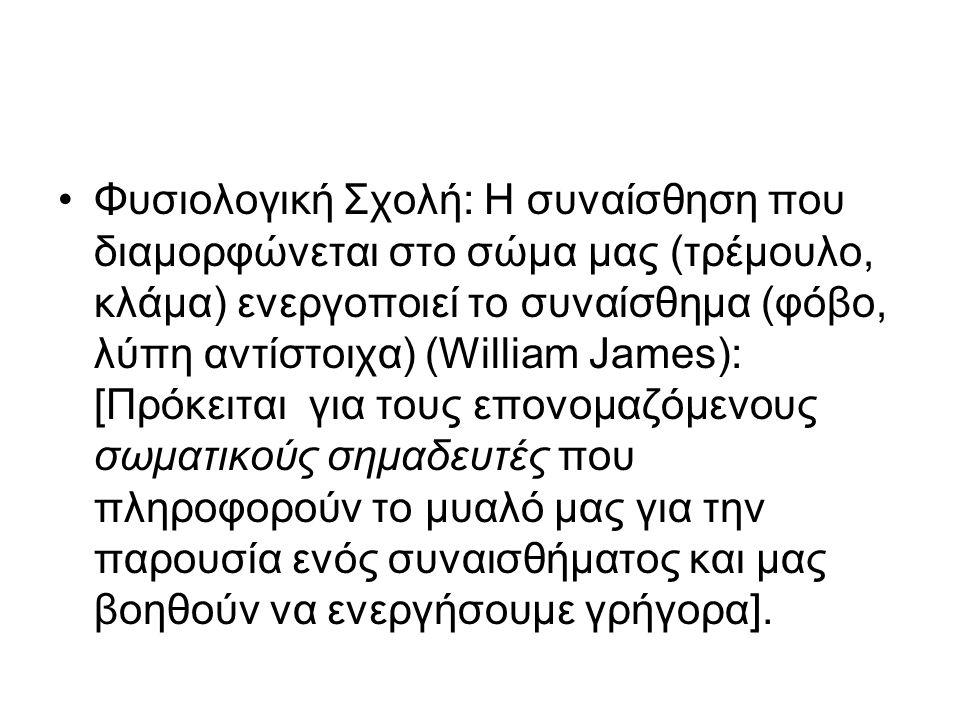 Φυσιολογική Σχολή: Η συναίσθηση που διαμορφώνεται στο σώμα μας (τρέμουλο, κλάμα) ενεργοποιεί το συναίσθημα (φόβο, λύπη αντίστοιχα) (William James): [Π