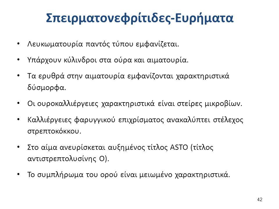 Σπειρματονεφρίτιδες-Ευρήματα Λευκωματουρία παντός τύπου εμφανίζεται.
