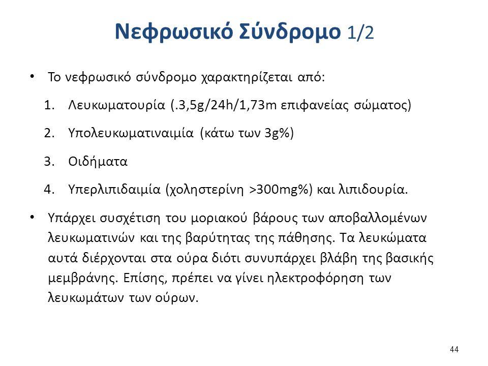 Νεφρωσικό Σύνδρομο 1/2 Το νεφρωσικό σύνδρομο χαρακτηρίζεται από: 1.Λευκωματουρία (.3,5g/24h/1,73m επιφανείας σώματος) 2.Υπολευκωματιναιμία (κάτω των 3g%) 3.Οιδήματα 4.Υπερλιπιδαιμία (χοληστερίνη >300mg%) και λιπιδουρία.