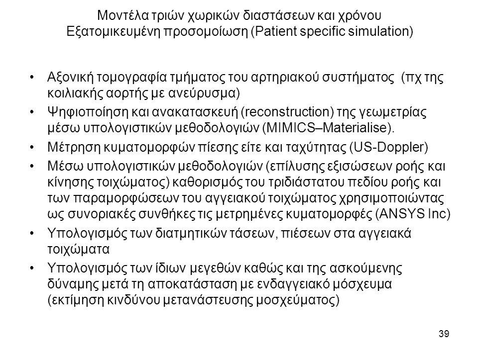 Μοντέλα τριών χωρικών διαστάσεων και χρόνου Εξατομικευμένη προσομοίωση (Patient specific simulation) Αξονική τομογραφία τμήματος του αρτηριακού συστήματος (πχ της κοιλιακής αορτής με ανεύρυσμα) Ψηφιοποίηση και ανακατασκευή (reconstruction) της γεωμετρίας μέσω υπολογιστικών μεθοδολογιών (MIMICS–Materialise).