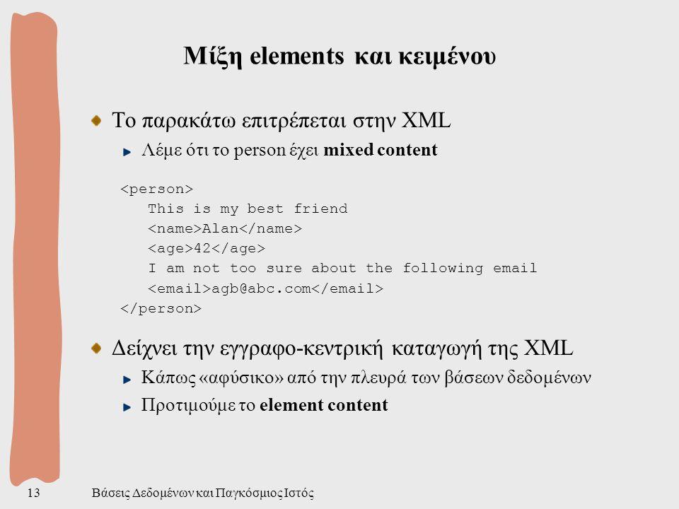 Βάσεις Δεδομένων και Παγκόσμιος Ιστός13 Μίξη elements και κειμένου Το παρακάτω επιτρέπεται στην XML Λέμε ότι το person έχει mixed content This is my best friend Alan 42 I am not too sure about the following email agb@abc.com Δείχνει την εγγραφο-κεντρική καταγωγή της XML Κάπως «αφύσικο» από την πλευρά των βάσεων δεδομένων Προτιμούμε το element content