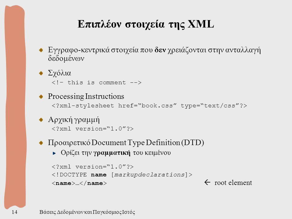 Βάσεις Δεδομένων και Παγκόσμιος Ιστός14 Επιπλέον στοιχεία της XML Εγγραφο-κεντρικά στοιχεία που δεν χρειάζονται στην ανταλλαγή δεδομένων Σχόλια Processing Instructions Αρχική γραμμή Προαιρετικό Document Type Definition (DTD) Ορίζει την γραμματική του κειμένου …  root element