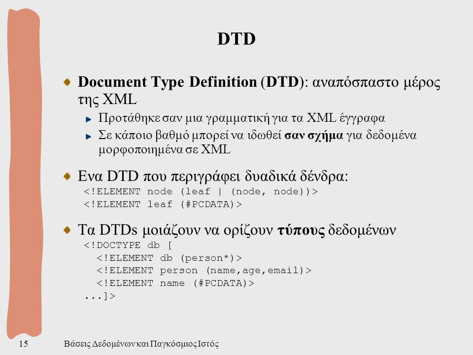 Βάσεις Δεδομένων και Παγκόσμιος Ιστός15 DTD Document Type Definition (DTD): αναπόσπαστο μέρος της XML Προτάθηκε σαν μια γραμματική για τα XML έγγραφα Σε κάποιο βαθμό μπορεί να ιδωθεί σαν σχήμα για δεδομένα μορφοποιημένα σε XML Ενα DTD που περιγράφει δυαδικά δένδρα: Τα DTDs μοιάζουν να ορίζουν τύπους δεδομένων <!DOCTYPE db [...]>