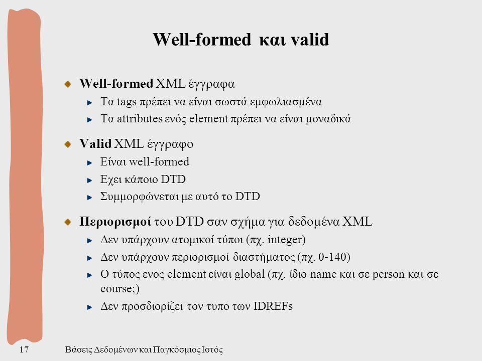 Βάσεις Δεδομένων και Παγκόσμιος Ιστός17 Well-formed και valid Well-formed XML έγγραφα Τα tags πρέπει να είναι σωστά εμφωλιασμένα Τα attributes ενός element πρέπει να είναι μοναδικά Valid XML έγγραφο Είναι well-formed Εχει κάποιο DTD Συμμορφώνεται με αυτό το DTD Περιορισμοί του DTD σαν σχήμα για δεδομένα XML Δεν υπάρχουν ατομικοί τύποι (πχ.