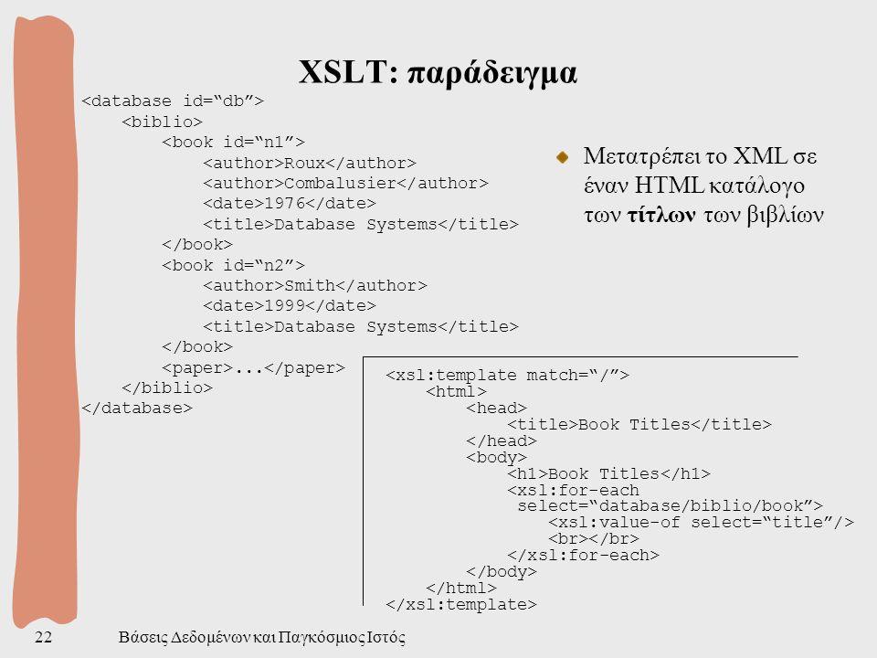 Βάσεις Δεδομένων και Παγκόσμιος Ιστός22 XSLT: παράδειγμα Roux Combalusier 1976 Database Systems Smith 1999 Database Systems...