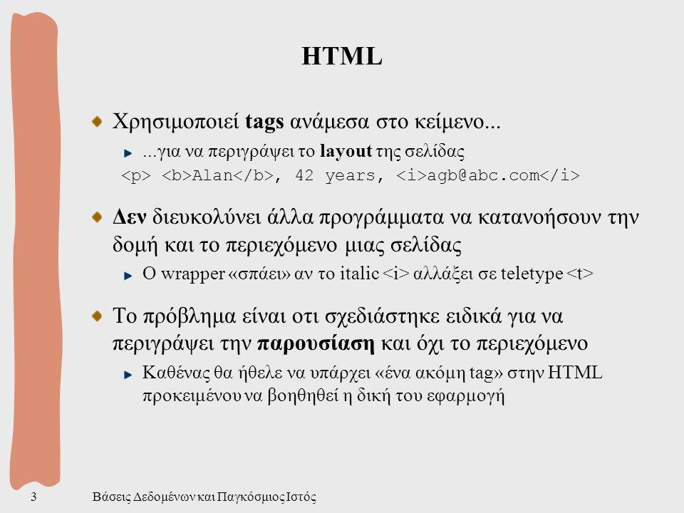 Βάσεις Δεδομένων και Παγκόσμιος Ιστός3 HTML Χρησιμοποιεί tags ανάμεσα στο κείμενο......για να περιγράψει το layout της σελίδας Alan, 42 years, agb@abc.com Δεν διευκολύνει άλλα προγράμματα να κατανοήσουν την δομή και το περιεχόμενο μιας σελίδας Ο wrapper «σπάει» αν το italic αλλάξει σε teletype Το πρόβλημα είναι οτι σχεδιάστηκε ειδικά για να περιγράψει την παρουσίαση και όχι το περιεχόμενο Καθένας θα ήθελε να υπάρχει «ένα ακόμη tag» στην HTML προκειμένου να βοηθηθεί η δική του εφαρμογή