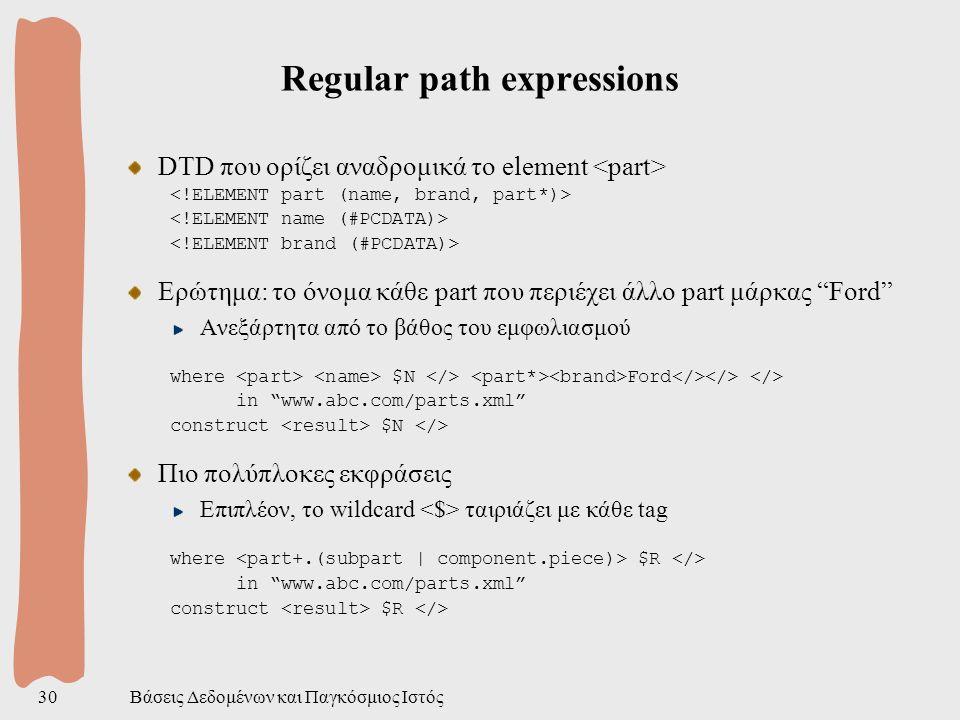 Βάσεις Δεδομένων και Παγκόσμιος Ιστός30 Regular path expressions DTD που ορίζει αναδρομικά το element Ερώτημα: το όνομα κάθε part που περιέχει άλλο part μάρκας Ford Ανεξάρτητα από το βάθος του εμφωλιασμού where $N Ford in www.abc.com/parts.xml construct $N Πιο πολύπλοκες εκφράσεις Επιπλέον, το wildcard ταιριάζει με κάθε tag where $R in www.abc.com/parts.xml construct $R
