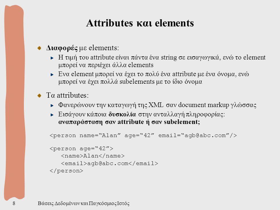 Βάσεις Δεδομένων και Παγκόσμιος Ιστός19 XML Namespaces Πρόβλημα: ο τύπος των element είναι global Το ίδιο έγγραφο πρέπει να μπορεί να χρησιμοποιηθεί από πολλά προγράμματα που καταλαβαίνουν άλλα markups Συγκρούσεις στην ονοματολογία; Λύση: XML Namespaces = συλλογές ονομάτων Default namespace ( urn:loc.bla ) για το <book xmlns= urn:loc.bla xmlns:isbn= urn:bla.bla > the title 123456 Επίσης και για τα attibutes Baby food