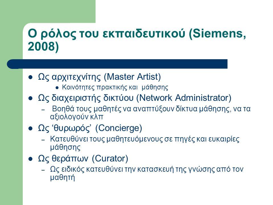 Ο ρόλος του εκπαιδευτικού (Siemens, 2008) Ως αρχιτεχνίτης (Master Artist) Κοινότητες πρακτικής και μάθησης Ως διαχειριστής δικτύου (Network Administrator) – Βοηθά τους μαθητές να αναπτύξουν δίκτυα μάθησης, να τα αξιολογούν κλπ Ως 'θυρωρός' (Concierge) – Κατευθύνει τους μαθητευόμενους σε πηγές και ευκαιρίες μάθησης Ως θεράπων (Curator) – Ως ειδικός κατευθύνει την κατασκευή της γνώσης από τον μαθητή