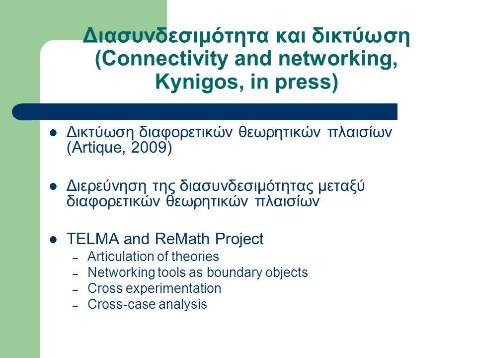 Διασυνδεσιμότητα και δικτύωση (Connectivity and networking, Kynigos, in press) Δικτύωση διαφορετικών θεωρητικών πλαισίων (Artique, 2009) Διερεύνηση της διασυνδεσιμότητας μεταξύ διαφορετικών θεωρητικών πλαισίων TELMA and ReMath Project – Articulation of theories – Networking tools as boundary objects – Cross experimentation – Cross-case analysis