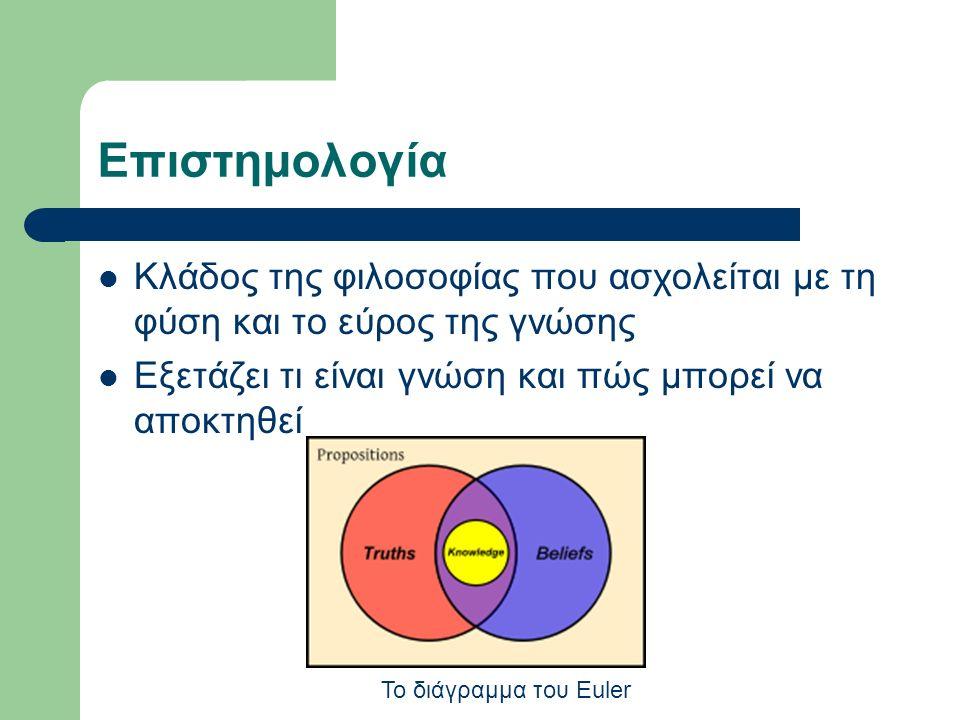 Επιστημολογία Κλάδος της φιλοσοφίας που ασχολείται με τη φύση και το εύρος της γνώσης Εξετάζει τι είναι γνώση και πώς μπορεί να αποκτηθεί Το διάγραμμα του Euler