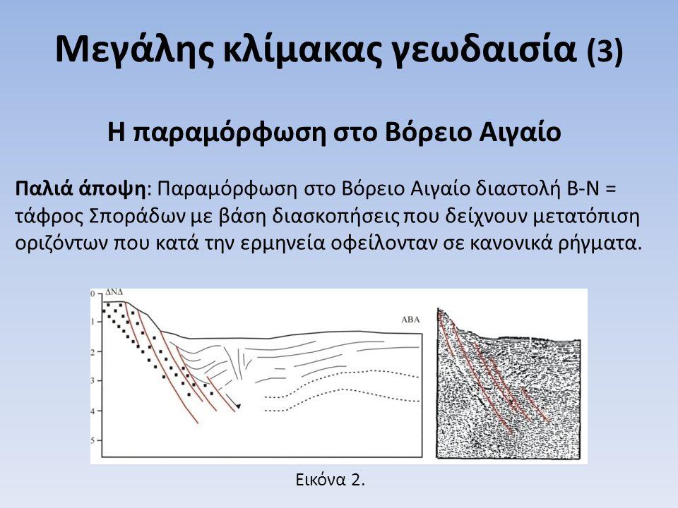 Παλιά άποψη: Παραμόρφωση στο Βόρειο Αιγαίο διαστολή Β-Ν = τάφρος Σποράδων με βάση διασκοπήσεις που δείχνουν μετατόπιση οριζόντων που κατά την ερμηνεία