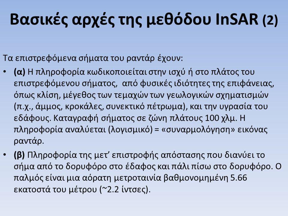 Βασικές αρχές της μεθόδου InSAR (2) Τα επιστρεφόμενα σήματα του ραντάρ έχουν: (α) Η πληροφορία κωδικοποιείται στην ισχύ ή στο πλάτος του επιστρεφόμενο