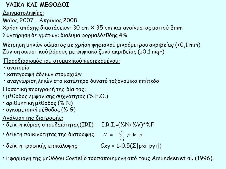 Δειγματοληψίες: Μάϊος 2007 - Απρίλιος 2008 Χρήση απόχης διαστάσεων: 30 cm Χ 35 cm και ανοίγματος ματιού 2mm Συντήρηση δειγμάτων: διάλυμα φορμαλδεΰδης 4% ΥΛΙΚΑ ΚΑΙ ΜΕΘΟΔΟΙ Μέτρηση μηκών σώματος με χρήση ψηφιακού μικρόμετρου ακριβείας (±0,1 mm) Ζύγιση σωματικού βάρους με ψηφιακό ζυγό ακριβείας (±0,1 mgr) Προσδιορισμός του στομαχικού περιεχομένου: ανατομία καταγραφή άδειων στομαχιών αναγνώριση λειών στο κατώτερο δυνατό ταξονομικό επίπεδο Ποσοτική περιγραφή της δίαιτας: μέθοδος εμφάνισης συχνότητας (% F.Ο.) αριθμητική μέθοδος (% Ν) ογκομετρική μέθοδος (% G) Ανάλυση της διατροφής: δείκτη κύριας σπουδαιότητας(IRI): I.R.I.=(%N+%V)*%F δείκτη ποικιλότητας της διατροφής: δείκτη τροφικής επικάλυψης: δείκτη τροφικής επικάλυψης: Cxy = 1-0.5(Σ|pxi–pyi|) Εφαρμογή της μεθόδου Costello τροποποιημένη από τους Amundsen et al.