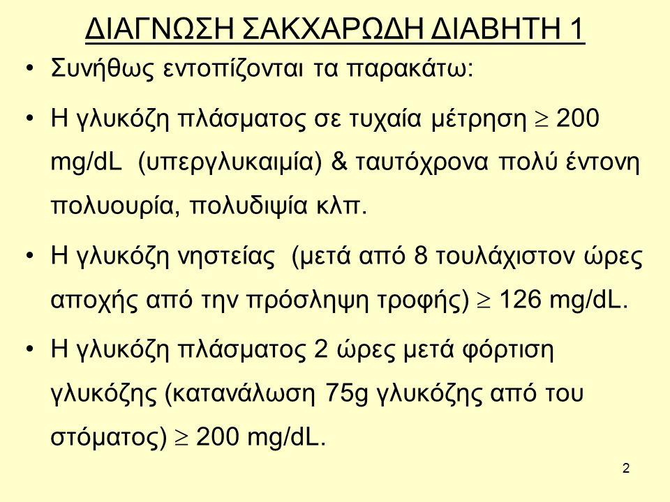 2 ΔΙΑΓΝΩΣΗ ΣΑΚΧΑΡΩΔΗ ΔΙΑΒΗΤΗ 1 Συνήθως εντοπίζονται τα παρακάτω: Η γλυκόζη πλάσματος σε τυχαία μέτρηση  200 mg/dL (υπεργλυκαιμία) & ταυτόχρονα πολύ έντονη πολυουρία, πολυδιψία κλπ.