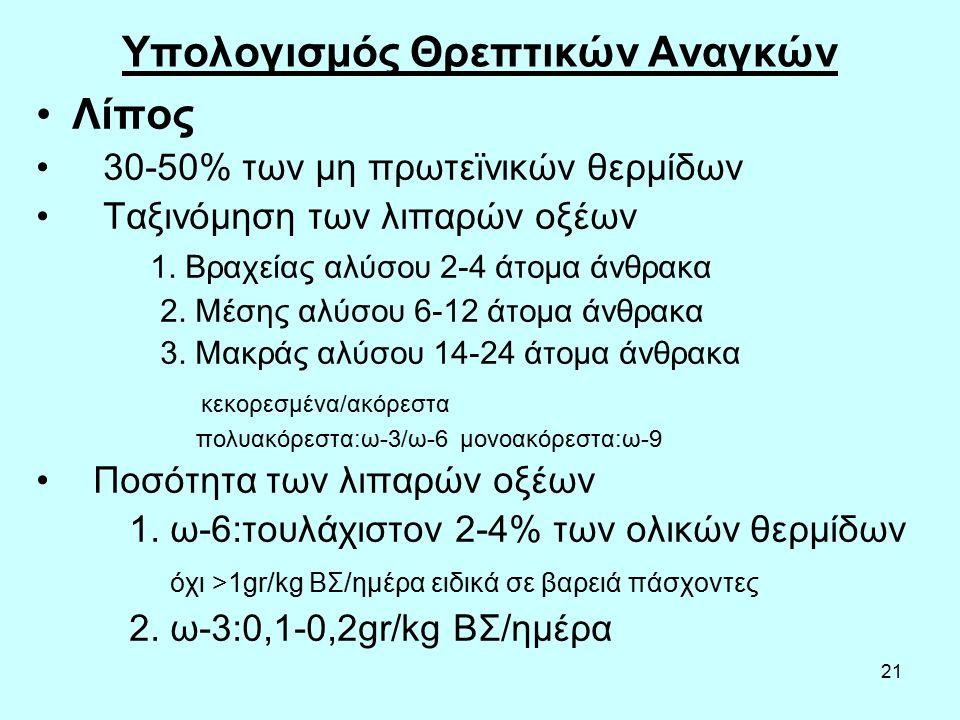 21 Υπολογισμός Θρεπτικών Αναγκών Λίπος 30-50% των μη πρωτεϊνικών θερμίδων Ταξινόμηση των λιπαρών οξέων 1. Βραχείας αλύσου 2-4 άτομα άνθρακα 2. Μέσης α