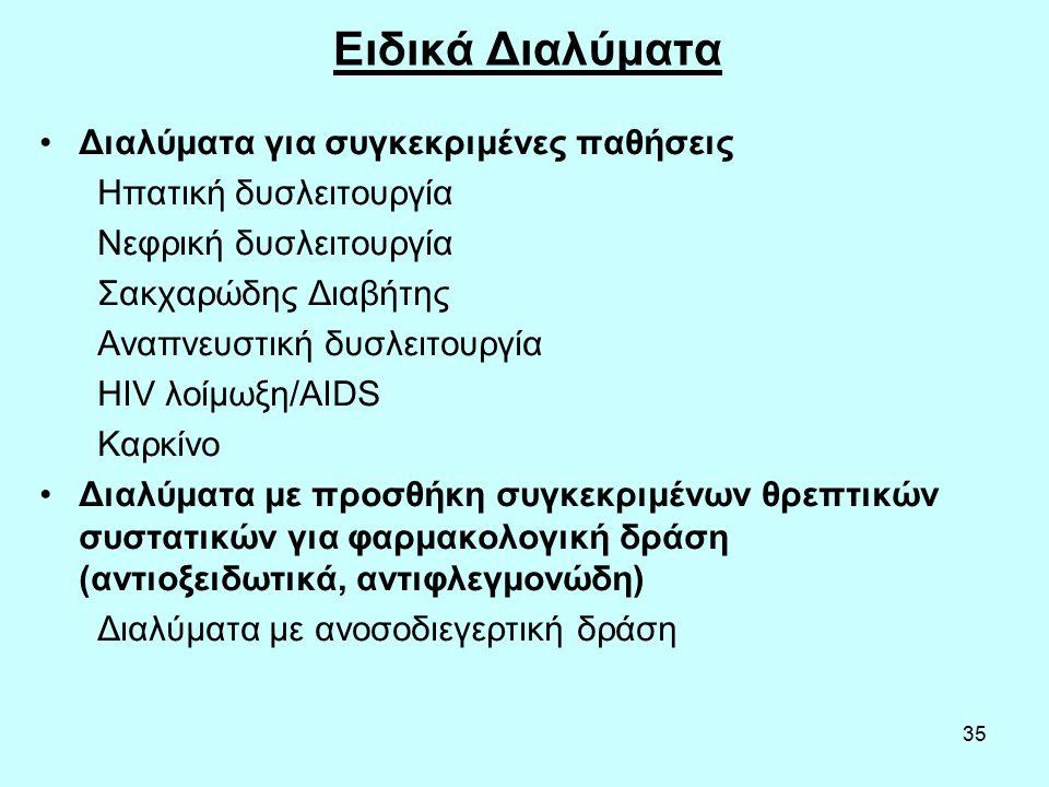35 Ειδικά Διαλύματα Διαλύματα για συγκεκριμένες παθήσεις Ηπατική δυσλειτουργία Νεφρική δυσλειτουργία Σακχαρώδης Διαβήτης Αναπνευστική δυσλειτουργία HIV λοίμωξη/AIDS Καρκίνο Διαλύματα με προσθήκη συγκεκριμένων θρεπτικών συστατικών για φαρμακολογική δράση (αντιοξειδωτικά, αντιφλεγμονώδη) Διαλύματα με ανοσοδιεγερτική δράση