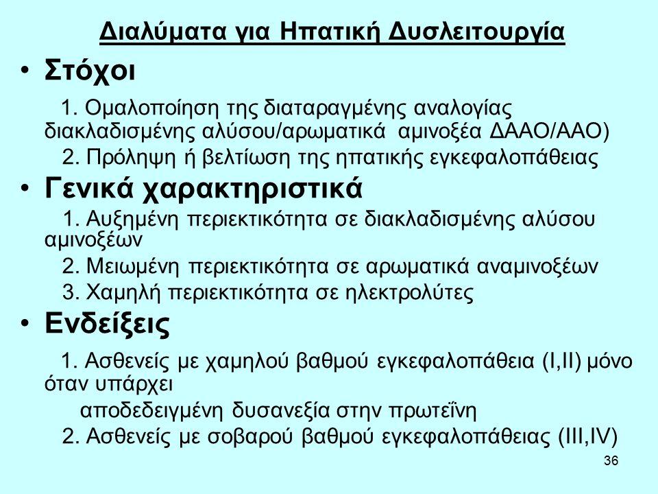 36 Διαλύματα για Ηπατική Δυσλειτουργία Στόχοι 1. Ομαλοποίηση της διαταραγμένης αναλογίας διακλαδισμένης αλύσου/αρωματικά αμινοξέα ΔΑΑΟ/ΑΑΟ) 2. Πρόληψη