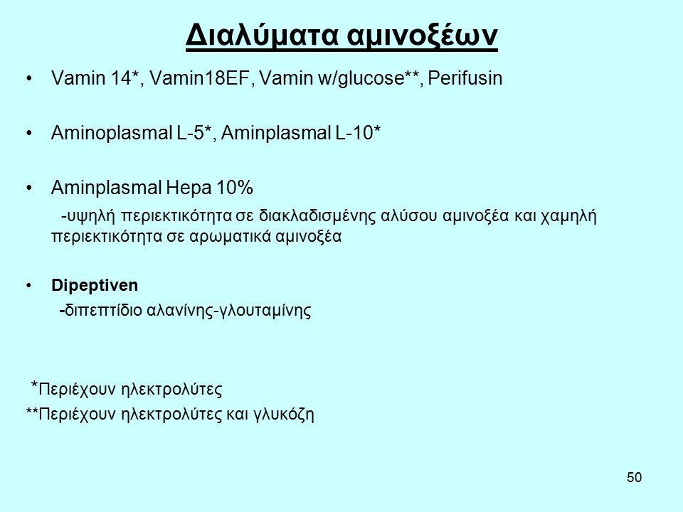 50 Διαλύματα αμινοξέων Vamin 14*, Vamin18EF, Vamin w/glucose**, Perifusin Aminoplasmal L-5*, Aminplasmal L-10* Aminplasmal Hepa 10% -υψηλή περιεκτικότητα σε διακλαδισμένης αλύσου αμινοξέα και χαμηλή περιεκτικότητα σε αρωματικά αμινοξέα Dipeptiven -διπεπτίδιο αλανίνης-γλουταμίνης * Περιέχουν ηλεκτρολύτες **Περιέχουν ηλεκτρολύτες και γλυκόζη