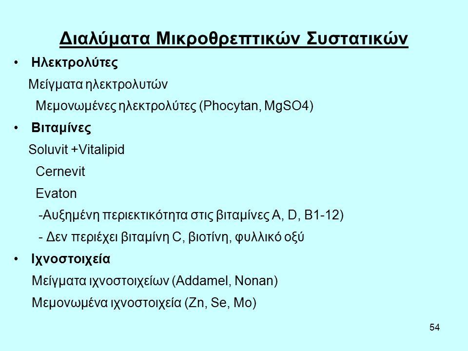 54 Διαλύματα Μικροθρεπτικών Συστατικών Ηλεκτρολύτες Μείγματα ηλεκτρολυτών Μεμονωμένες ηλεκτρολύτες (Phocytan, MgSO4) Bιταμίνες Soluvit +Vitalipid Cernevit Evaton -Αυξημένη περιεκτικότητα στις βιταμίνες Α, D, B1-12) - Δεν περιέχει βιταμίνη C, βιοτίνη, φυλλικό οξύ Ιχνοστοιχεία Μείγματα ιχνοστοιχείων (Addamel, Nonan) Μεμονωμένα ιχνοστοιχεία (Zn, Se, Mo)
