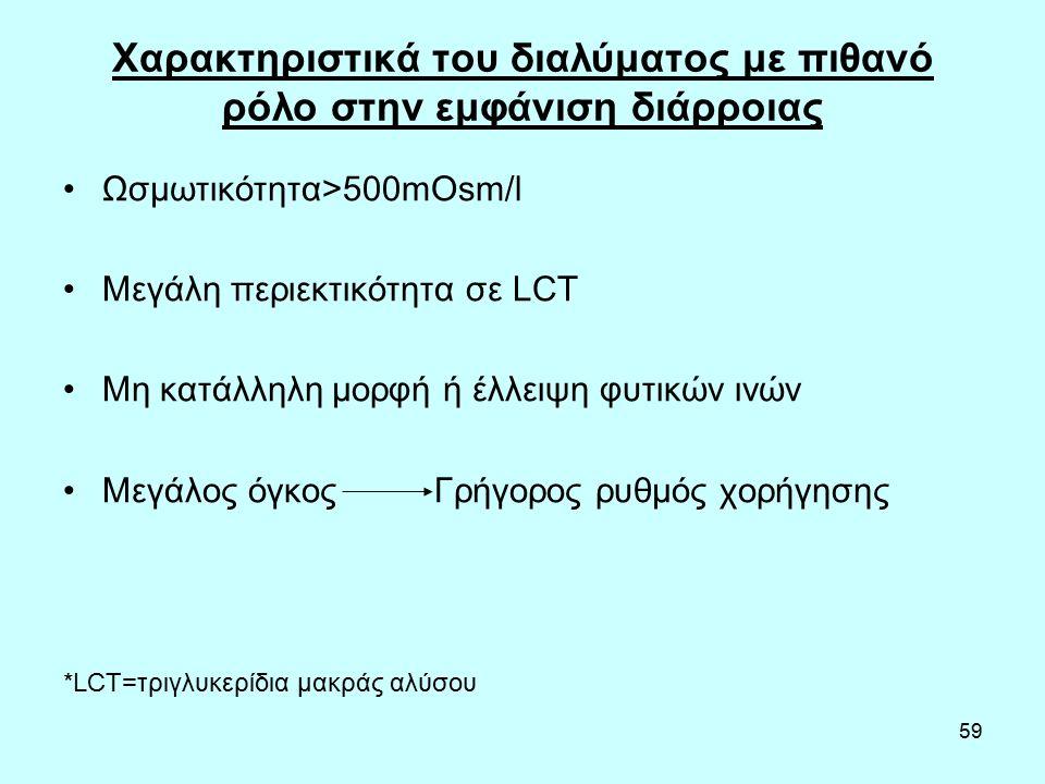 59 Χαρακτηριστικά του διαλύματος με πιθανό ρόλο στην εμφάνιση διάρροιας Ωσμωτικότητα>500mOsm/l Μεγάλη περιεκτικότητα σε LCT Μη κατάλληλη μορφή ή έλλειψη φυτικών ινών Μεγάλος όγκος Γρήγορος ρυθμός χορήγησης *LCT=τριγλυκερίδια μακράς αλύσου