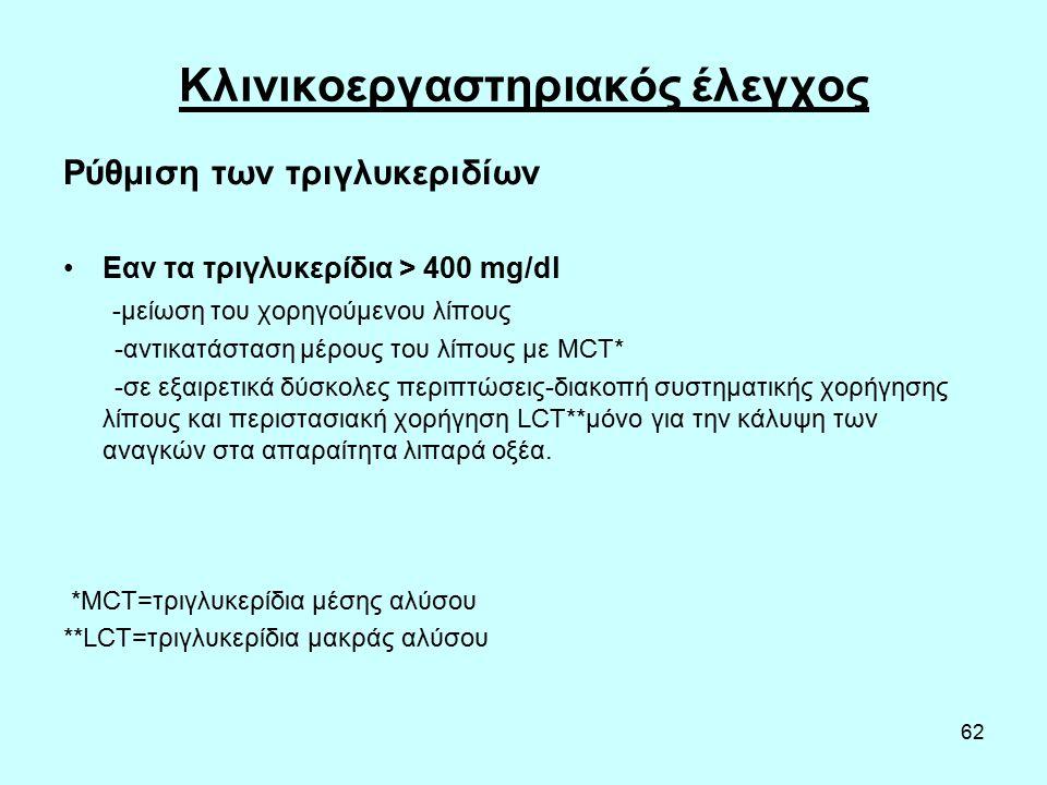 62 Κλινικοεργαστηριακός έλεγχος Ρύθμιση των τριγλυκεριδίων Εαν τα τριγλυκερίδια > 400 mg/dl -μείωση του χορηγούμενου λίπους -αντικατάσταση μέρους του λίπους με MCT* -σε εξαιρετικά δύσκολες περιπτώσεις-διακοπή συστηματικής χορήγησης λίπους και περιστασιακή χορήγηση LCT**μόνο για την κάλυψη των αναγκών στα απαραίτητα λιπαρά οξέα.
