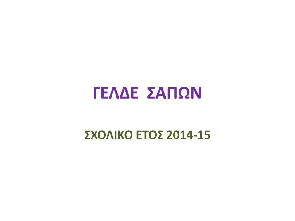 ΓΕΛΔΕ ΣΑΠΩΝ ΣΧΟΛΙΚΟ ΕΤΟΣ 2014-15
