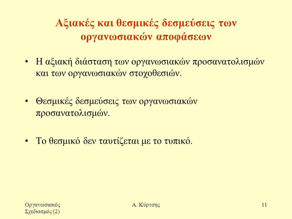 Οργανωσιακός Σχεδιασμός (2) Α. Κύρτσης11 Αξιακές και θεσμικές δεσμεύσεις των οργανωσιακών αποφάσεων Η αξιακή διάσταση των οργανωσιακών προσανατολισμών