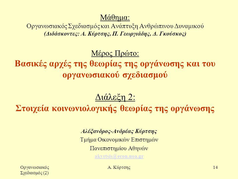 Οργανωσιακός Σχεδιασμός (2) Α. Κύρτσης14 Μάθημα: Οργανωσιακός Σχεδιασμός και Ανάπτυξη Ανθρώπινου Δυναμικού (Διδάσκοντες: Α. Κύρτσης, Π. Γεωργιάδης, Δ.