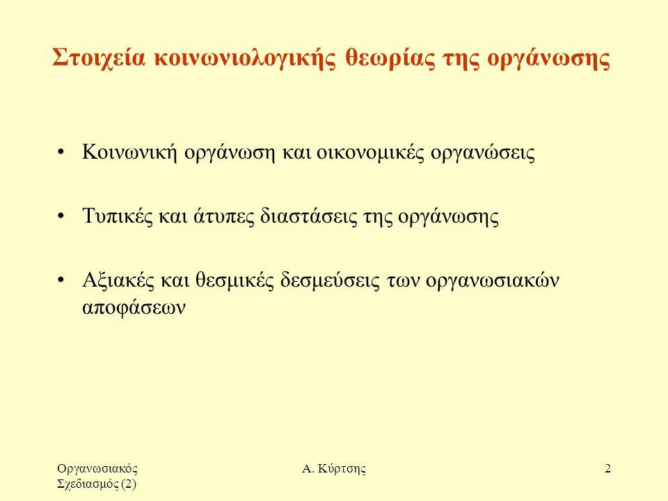Οργανωσιακός Σχεδιασμός (2) Α. Κύρτσης2 Στοιχεία κοινωνιολογικής θεωρίας της οργάνωσης Κοινωνική οργάνωση και οικονομικές οργανώσεις Τυπικές και άτυπε