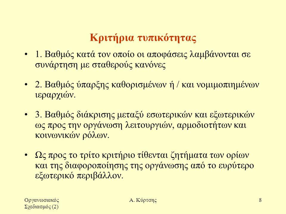 Οργανωσιακός Σχεδιασμός (2) Α. Κύρτσης8 Κριτήρια τυπικότητας 1. Βαθμός κατά τον οποίο οι αποφάσεις λαμβάνονται σε συνάρτηση με σταθερούς κανόνες 2. Βα