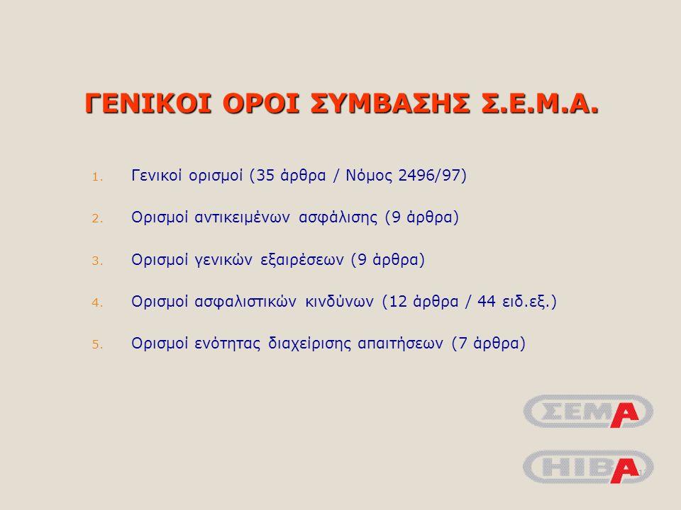 ΓΕΝΙΚΟΙ ΟΡΟΙ ΣΥΜΒΑΣΗΣ Σ.Ε.Μ.Α. 1. Γενικοί ορισμοί (35 άρθρα / Νόμος 2496/97) 2.