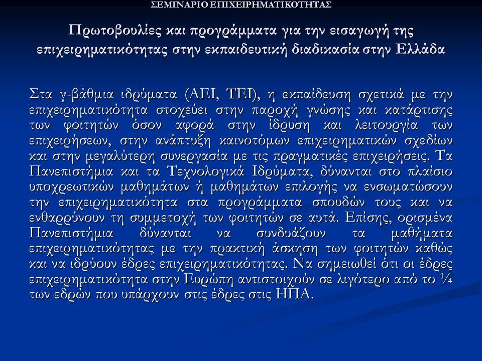 ΣΕΜΙΝΑΡΙΟ ΕΠΙΧΕΙΡΗΜΑΤΙΚΟΤΗΤΑΣ Πρωτοβουλίες και προγράμματα για την εισαγωγή της επιχειρηματικότητας στην εκπαιδευτική διαδικασία στην Ελλάδα Στα γ-βάθμια ιδρύματα (ΑΕΙ, ΤΕΙ), η εκπαίδευση σχετικά με την επιχειρηματικότητα στοχεύει στην παροχή γνώσης και κατάρτισης των φοιτητών όσον αφορά στην ίδρυση και λειτουργία των επιχειρήσεων, στην ανάπτυξη καινοτόμων επιχειρηματικών σχεδίων και στην μεγαλύτερη συνεργασία με τις πραγματικές επιχειρήσεις.