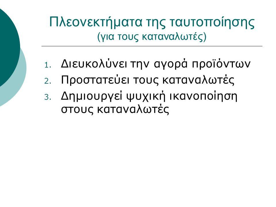 Πλεονεκτήματα της ταυτοποίησης (για τους καταναλωτές) 1.