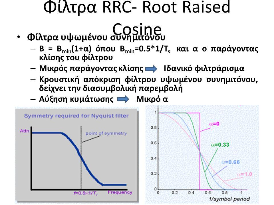 Φίλτρα RRC- Root Raised Cosine Φίλτρα υψωμένου συνημιτόνου – B = B min (1+α) όπου Β min =0.5*1/T s και α ο παράγοντας κλίσης του φίλτρου – Μικρός παράγοντας κλίσης Ιδανικό φιλτράρισμα – Κρουστική απόκριση φίλτρου υψωμένου συνημιτόνου, δείχνει την διασυμβολική παρεμβολή – Αύξηση κυμάτωσης Μικρό α 4
