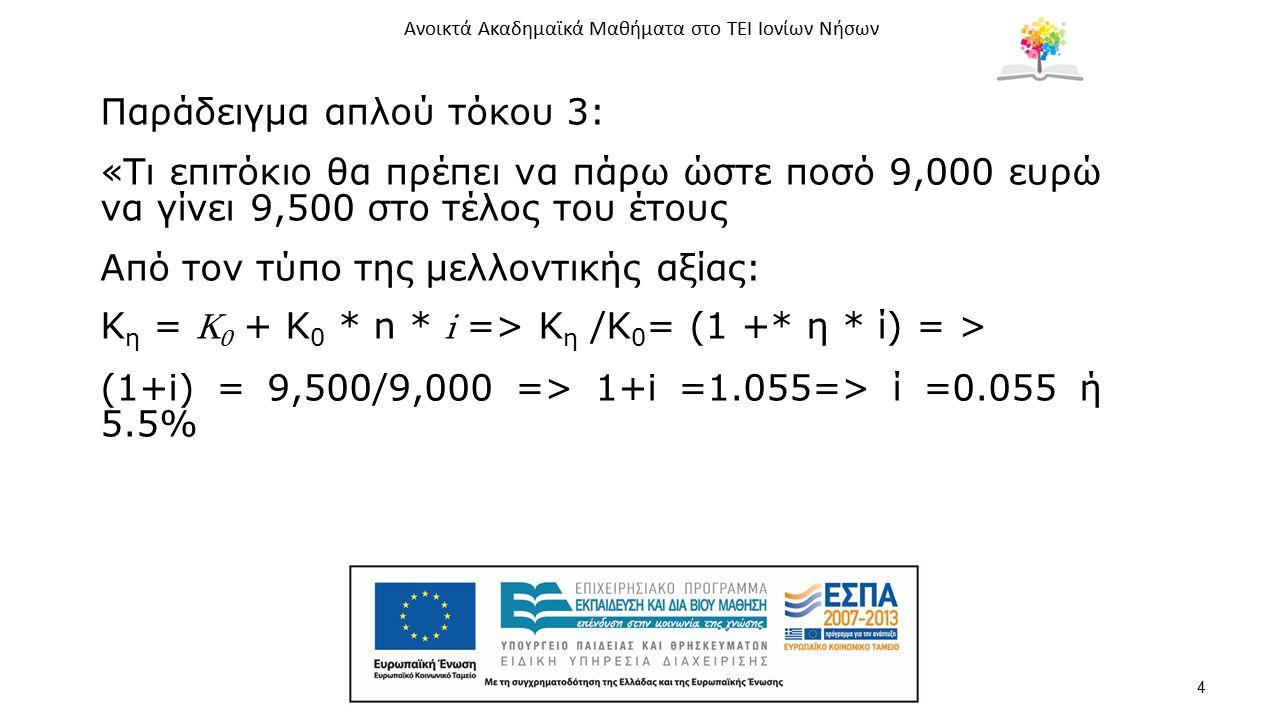 Ανοικτά Ακαδημαϊκά Μαθήματα στο ΤΕΙ Ιονίων Νήσων 4 Παράδειγμα απλού τόκου 3: «Τι επιτόκιο θα πρέπει να πάρω ώστε ποσό 9,000 ευρώ να γίνει 9,500 στο τέ