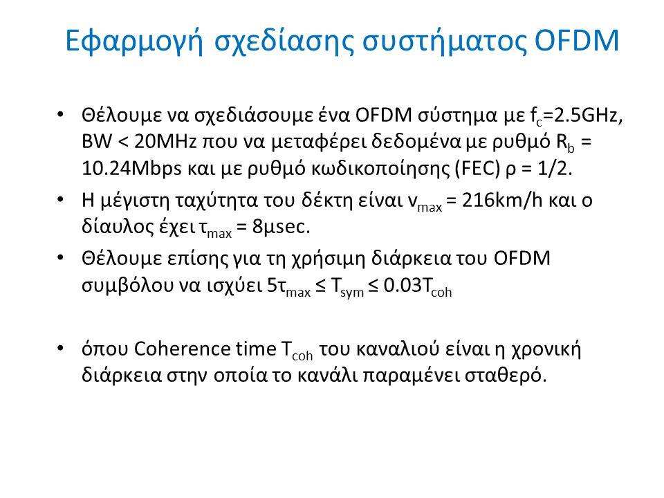 Εφαρμογή σχεδίασης συστήματος OFDM 11 Θέλουμε να σχεδιάσουμε ένα OFDM σύστημα με f c =2.5GHz, BW < 20MHz που να μεταφέρει δεδομένα με ρυθμό R b = 10.2