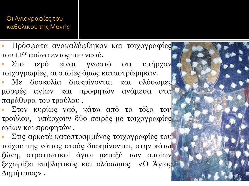 Οι Αγιογραφίες του καθολικού της Μονής  Πρόσφατα ανακαλύφθηκαν και τοιχογραφίες του 11 ου αιώνα εντός του ναού.  Στο ιερό είναι γνωστό ότι υπήρχαν τ