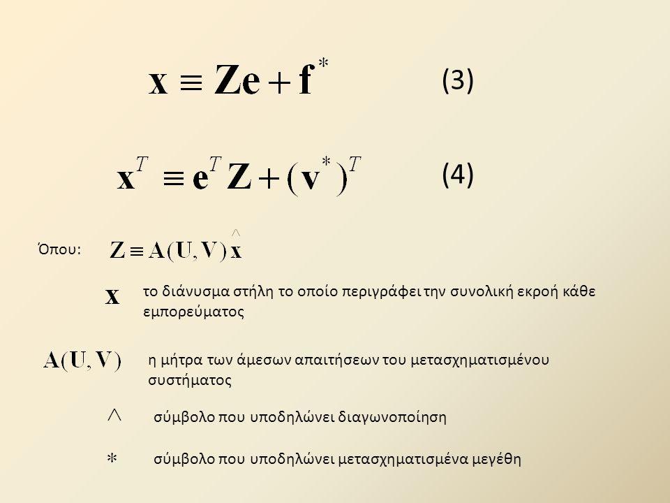 (3) (4) Όπου: το διάνυσμα στήλη το οποίο περιγράφει την συνολική εκροή κάθε εμπορεύματος η μήτρα των άμεσων απαιτήσεων του μετασχηματισμένου συστήματος σύμβολο που υποδηλώνει διαγωνοποίηση σύμβολο που υποδηλώνει μετασχηματισμένα μεγέθη