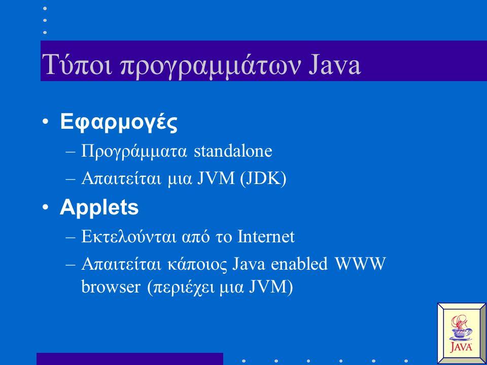 Τύποι προγραμμάτων Java Εφαρμογές –Προγράμματα standalone –Απαιτείται μια JVM (JDK) Applets –Εκτελούνται από το Internet –Απαιτείται κάποιος Java enab