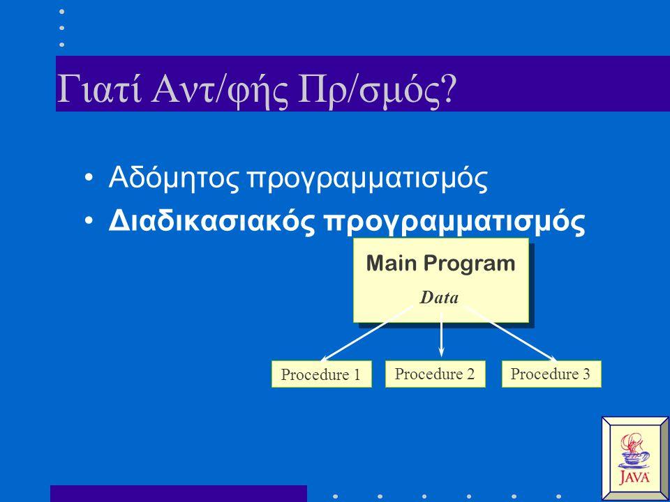 Γιατί Αντ/φής Πρ/σμός? Αδόμητος προγραμματισμός Διαδικασιακός προγραμματισμός Main Program Data Procedure 1 Procedure 3Procedure 2