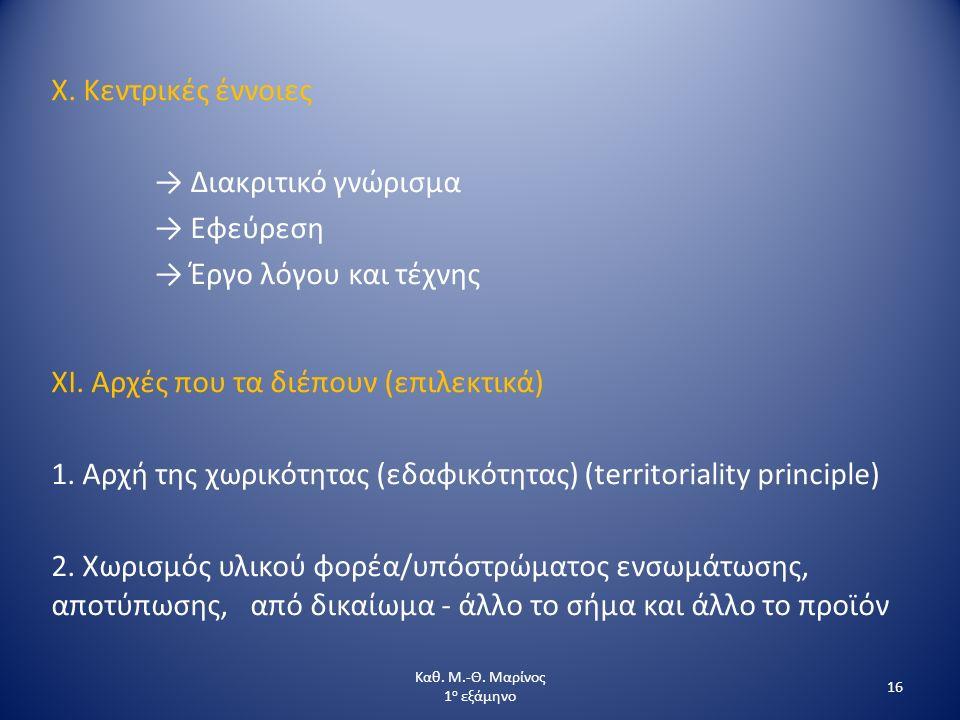 X. Κεντρικές έννοιες → Διακριτικό γνώρισμα → Εφεύρεση → Έργο λόγου και τέχνης XI. Αρχές που τα διέπουν (επιλεκτικά) 1. Αρχή της χωρικότητας (εδαφικότη