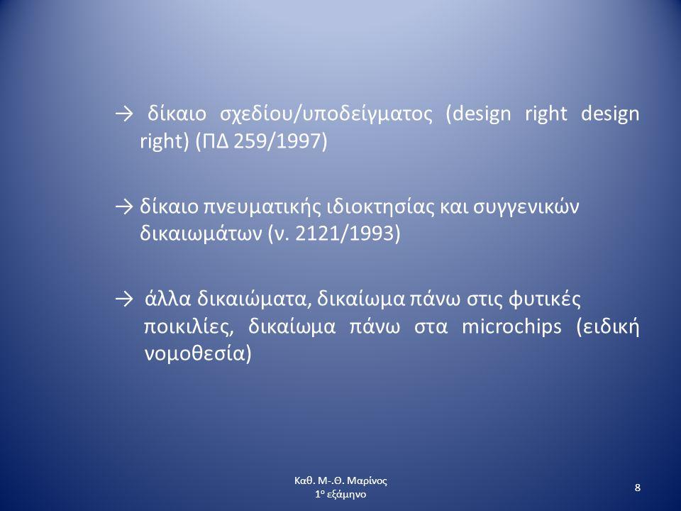 → δίκαιο σχεδίου/υποδείγματος (design right design right) (ΠΔ 259/1997) → δίκαιο πνευματικής ιδιοκτησίας και συγγενικών δικαιωμάτων (ν. 2121/1993) → ά
