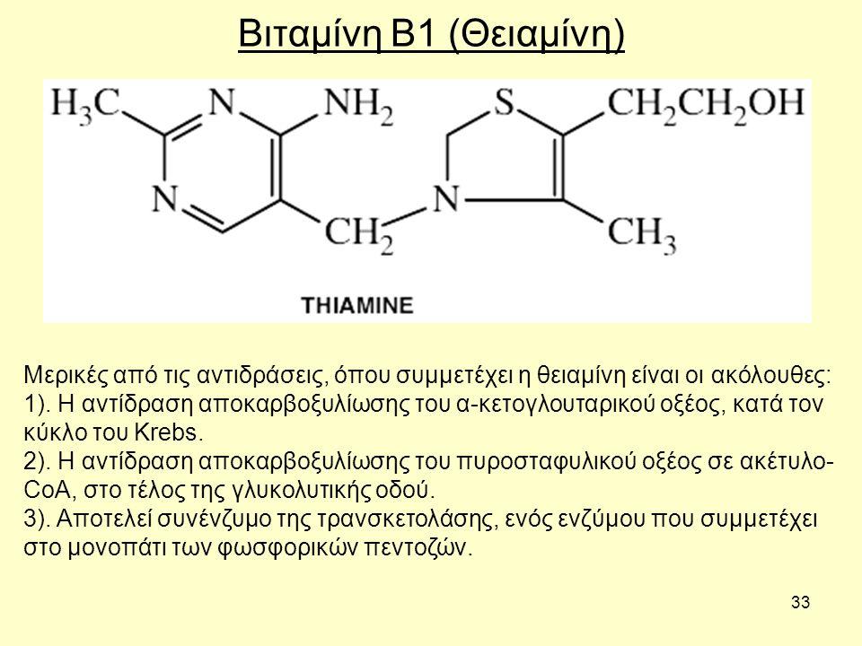 33 Βιταμίνη B1 (Θειαμίνη) Μερικές από τις αντιδράσεις, όπου συμμετέχει η θειαμίνη είναι οι ακόλουθες: 1).