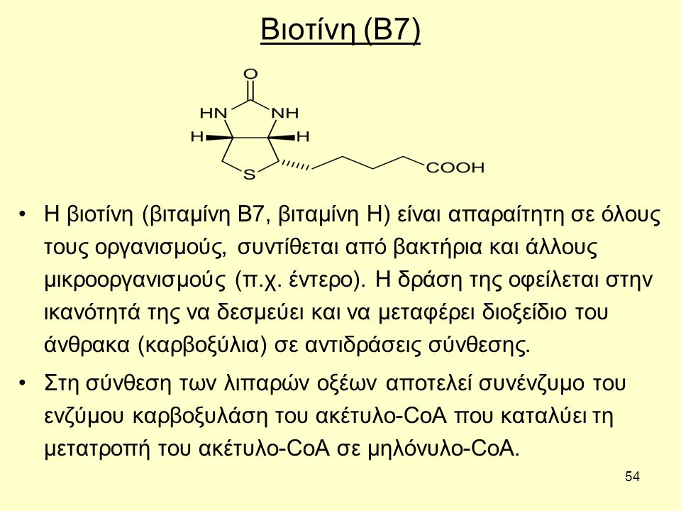 54 Βιοτίνη (Β7) Η βιοτίνη (βιταμίνη Β7, βιταμίνη Η) είναι απαραίτητη σε όλους τους οργανισμούς, συντίθεται από βακτήρια και άλλους μικροοργανισμούς (π.χ.