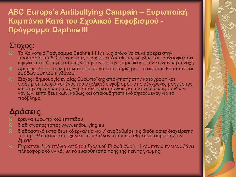 ABC Europe's Antibullying Campain – Ευρωπαϊκή Καμπάνια Κατά του Σχολικού Εκφοβισμού - Πρόγραμμα Daphne III Στόχος: Το Κοινοτικό Πρόγραμμα Daphne III έχει ως στόχο να συνεισφέρει στην προστασία παιδιών, νέων και γυναικών από κάθε μορφή βίας και να εξασφαλίσει υψηλό επίπεδο προστασίας για την υγεία, την ευημερία και την κοινωνική συνοχή Δράσεις: λήψη προληπτικών μέτρων και υποστήριξη και προστασία θυμάτων και ομάδων υψηλού κινδύνου Στόχος: δημιουργία ενιαίας Ευρωπαϊκής απάντησης στην καταγραφή και διαχείριση του φαινομένου του σχολικού εκφοβισμού στις σύγχρονες μορφές του και στην οργάνωση μιας Ευρωπαϊκής καμπάνιας για την ενημέρωση παιδιών, γονιών, εκπαιδευτικών, καθώς και οποιουδήποτε ενδιαφερόμενου για το πρόβλημα Δράσεις : έρευνα ευρωπαϊκού επιπέδου διαδικτυακός τόπος www.antibullying.eu διαδραστικό εκπαιδευτικό εργαλείο για ν' αναβαθμίσει τις διαδικασίες διαχείρισης του προβλήματος στο σχολικό περιβάλλον με τους μαθητές να συμμετέχουν άμεσα Ευρωπαϊκή Καμπάνια κατά του Σχολικού Εκφοβισμού.